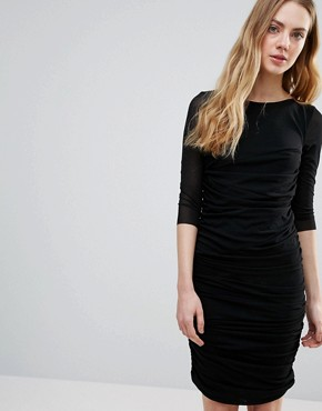 photo Silverstone Mesh Ruched Bodycon Dress by Ganni, color Black - Image 1