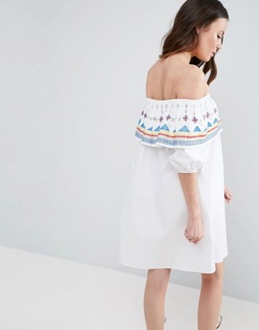 photo Aztec Embroidered Off Shoulder Sundress on Check Cotton by ASOS TALL, color  - Image 2