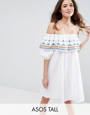 photo Aztec Embroidered Off Shoulder Sundress on Check Cotton by ASOS TALL, color  - Image 1