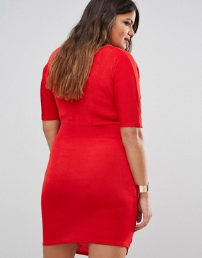 photo Ruched Bodycon Dress by Missguided Plus, color Red - Image 2