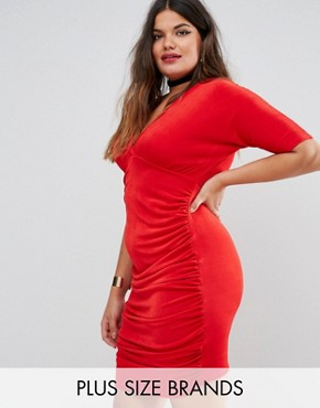 photo Ruched Bodycon Dress by Missguided Plus, color Red - Image 1