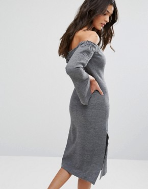 photo Off Shoulder Zip Front Dress by House of Sunny, color Grey - Image 2
