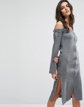 photo Off Shoulder Zip Front Dress by House of Sunny, color Grey - Image 1