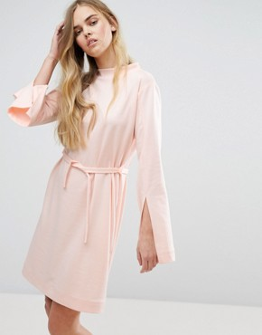 photo Extra Long Sleeved Dress with Tie Waist by House of Sunny, color Pastel Pink - Image 1