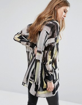 photo Sheer Shirt Dress In Abstract Print by Religion, color White - Image 2