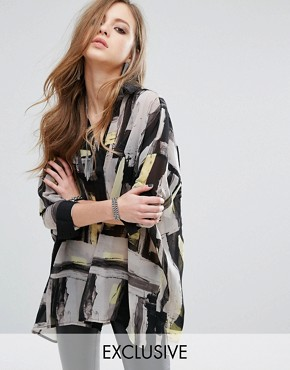 photo Sheer Shirt Dress In Abstract Print by Religion, color White - Image 1