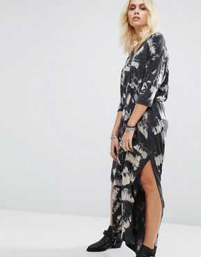 photo Maxi Tunic Dress In Print With Side Splits by Religion, color Dark Grey - Image 1
