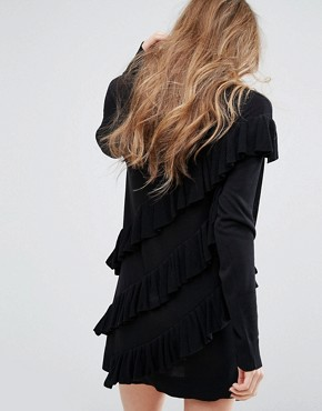 photo Jumper Dress With All Over Frills by Religion, color Black - Image 2