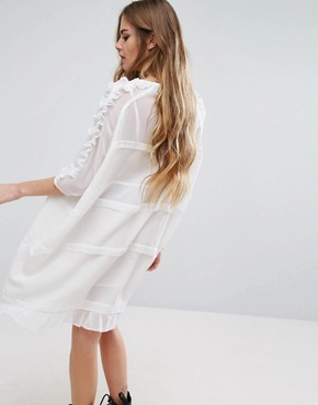 photo Sheer T-Shirt Dress With Frill Sleeves And Hem by Religion, color White - Image 2
