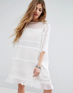 photo Sheer T-Shirt Dress With Frill Sleeves And Hem by Religion, color White - Image 1