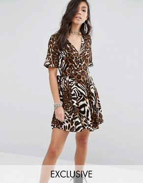 photo Wrap Dress In Abstract Leopard Print by Milk It, color  - Image 1