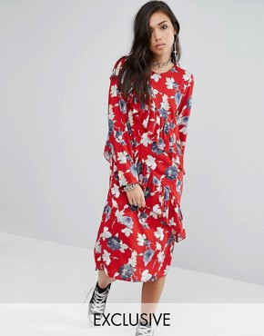 photo Midi Dress with Frills In Floral by Milk It, color  - Image 1