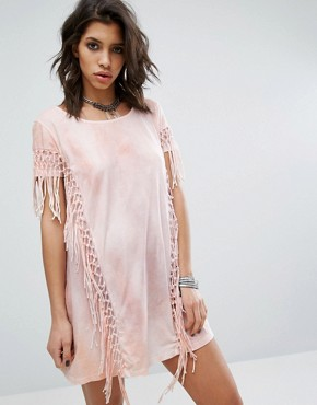 photo Dress with Tassel Back Details In Tie Dye by Religion, color Pink - Image 2
