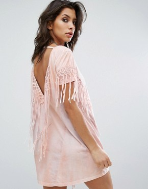 photo Dress with Tassel Back Details In Tie Dye by Religion, color Pink - Image 1