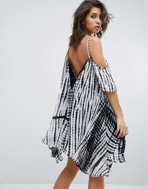 photo Cold Shoulder Dress In Tie Dye by Religion, color Black White - Image 1
