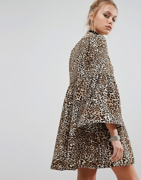 photo Peplum Smock Dress In Leopard Print by Milk It, color Leopard - Image 2