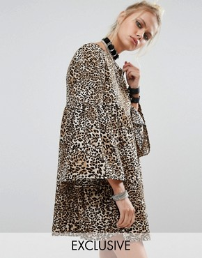 photo Peplum Smock Dress In Leopard Print by Milk It, color Leopard - Image 1