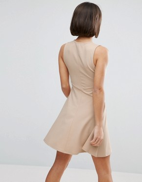 photo Skater Dress with Asymmetric Full Skirt Dress with V Neck by ASOS PETITE, color Nude - Image 2