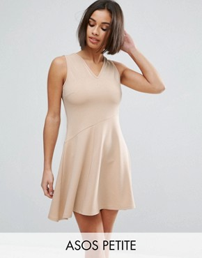 photo Skater Dress with Asymmetric Full Skirt Dress with V Neck by ASOS PETITE, color Nude - Image 1