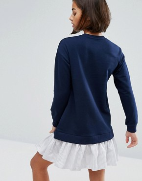 photo Sweat Dress with Shirting Hem by ASOS PETITE, color Navy - Image 2