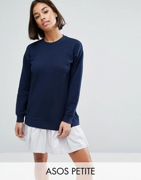 photo Sweat Dress with Shirting Hem by ASOS PETITE, color Navy - Image 1
