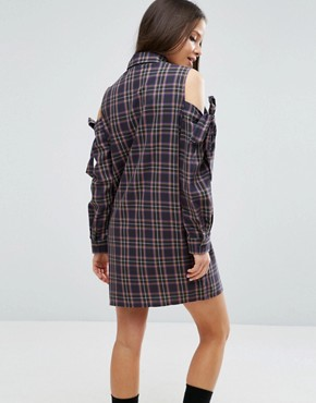 photo Cold Shoulder Check Shirt Dress with Bow Detail by ASOS PETITE, color  - Image 2
