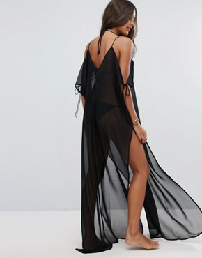 photo Chiffon Maxi Beach Kaftan with Cold Shoulders by ASOS, color Black - Image 2