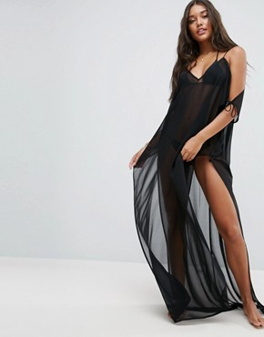photo Chiffon Maxi Beach Kaftan with Cold Shoulders by ASOS, color Black - Image 1