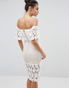 photo Off Shoulder Midi Dress in Premium Lace by Love Triangle, color Cream - Image 2