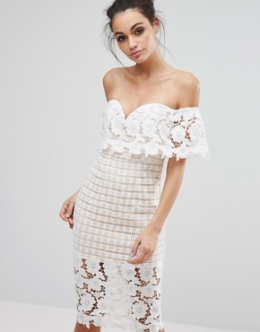 photo Off Shoulder Midi Dress in Premium Lace by Love Triangle, color Cream - Image 1