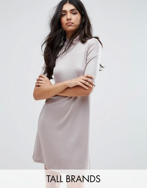 photo Sheila High Neck Drop Waist Dress by Y.A.S Tall, color Grey - Image 1