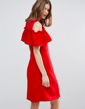 photo Nina Ruffle Cold Shoulder Skater Dress by Y.A.S Tall, color Red - Image 2