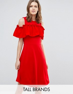 photo Nina Ruffle Cold Shoulder Skater Dress by Y.A.S Tall, color Red - Image 1