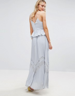 photo Cami Strap Maxi Dress with Pleated Skirt and Lace Insert by True Decadence Tall, color Lavender Grey - Image 2