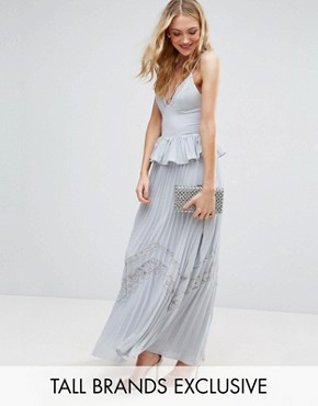 photo Cami Strap Maxi Dress with Pleated Skirt and Lace Insert by True Decadence Tall, color Lavender Grey - Image 1