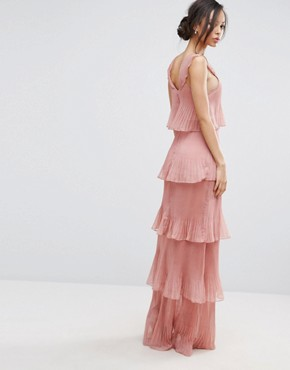 photo Cami Strap Maxi Dress with Ruffle Layered Pleated Skirt by True Decadence Tall, color Rose - Image 2