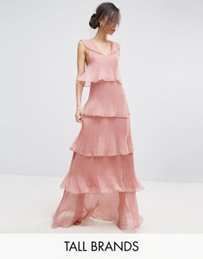 photo Cami Strap Maxi Dress with Ruffle Layered Pleated Skirt by True Decadence Tall, color Rose - Image 1