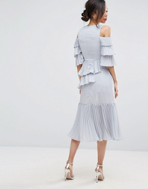 photo Cold Shoulder Midi Dress with Pleated Layer Detail by True Decadence Tall, color Soft Grey - Image 2
