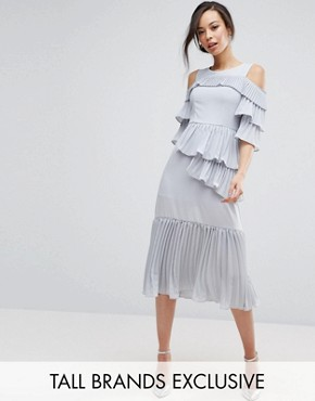photo Cold Shoulder Midi Dress with Pleated Layer Detail by True Decadence Tall, color Soft Grey - Image 1