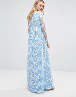 photo Premium 3D Lace Applique Maxi Dress by True Decadence Tall, color Soft Blue - Image 2