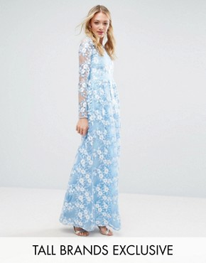 photo Premium 3D Lace Applique Maxi Dress by True Decadence Tall, color Soft Blue - Image 1