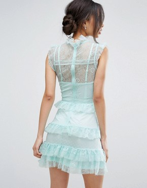 photo Floral and Dotty Mesh Ruffle Hem Dress by True Decadence Tall, color Mint - Image 2