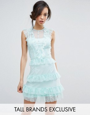 photo Floral and Dotty Mesh Ruffle Hem Dress by True Decadence Tall, color Mint - Image 1