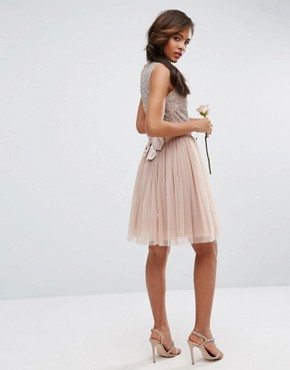 photo Sleeveless Sequin Top Midi Dress with Tulle Skirt and Bow Back Detail by Maya Tall, color Mink - Image 2