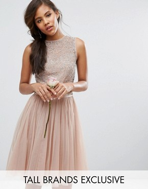 photo Sleeveless Sequin Top Midi Dress with Tulle Skirt and Bow Back Detail by Maya Tall, color Mink - Image 1