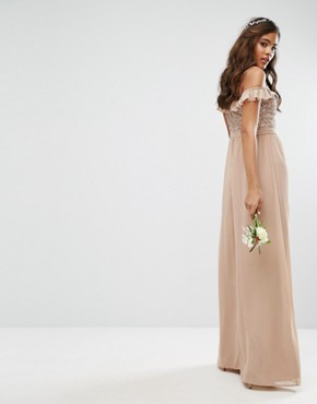 photo Off Shoulder Frill Sequin Maxi Dress by Maya Tall, color Mink - Image 2
