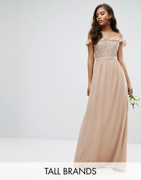photo Off Shoulder Frill Sequin Maxi Dress by Maya Tall, color Mink - Image 1