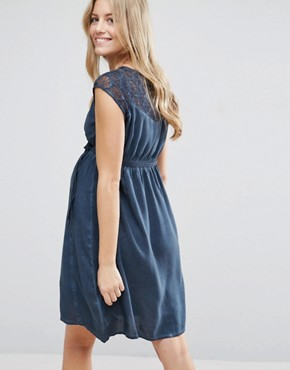 photo Maternity Dress With Lace Top by Mamalicious, color Navy - Image 2