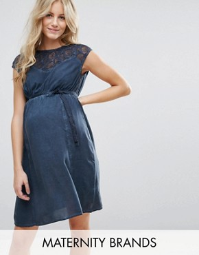 photo Maternity Dress With Lace Top by Mamalicious, color Navy - Image 1