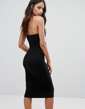 photo Cut Out Midi Dress with Slash Neckline by AQ/AQ, color Black - Image 2
